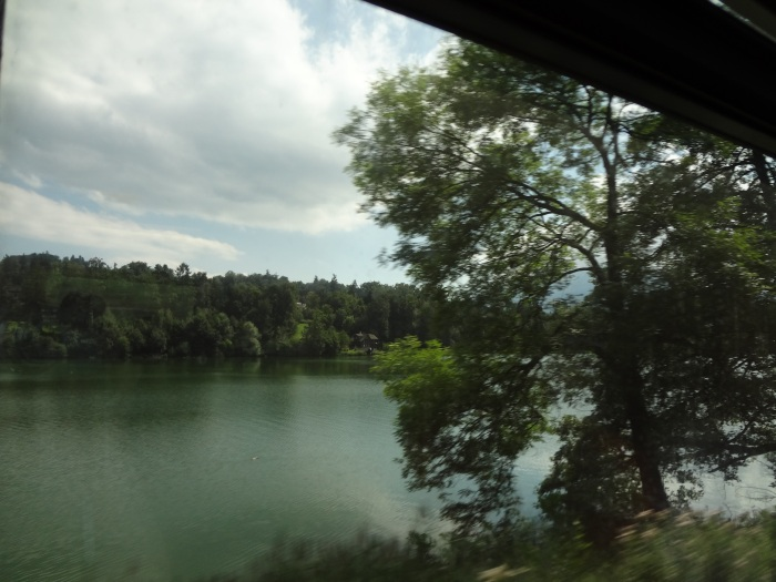 Our first glimpse of the Swiss countryside from the train