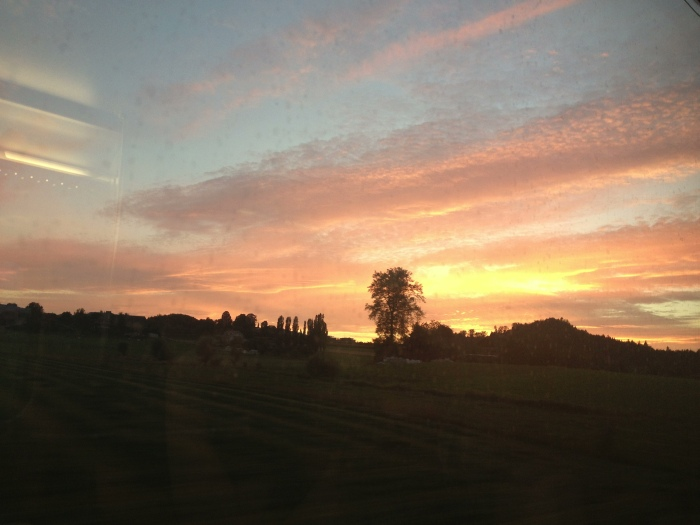 Watching the beautiful sunset from the train while sipping on red wine
