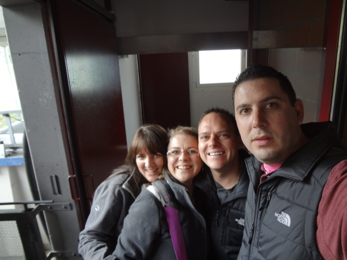 A group selfie as we wait for our next cable car...you'll notice that at this point we had to don our jackets:)
