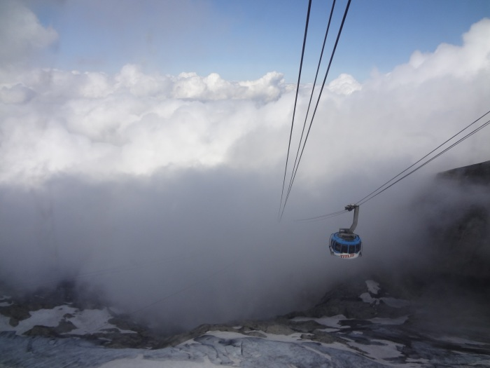 From the top..the cable car disappearing into the clouds