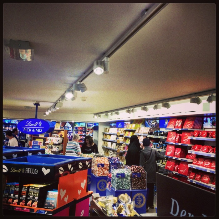 A rather limited view of the inside of the store at the factory...Lindt FTW