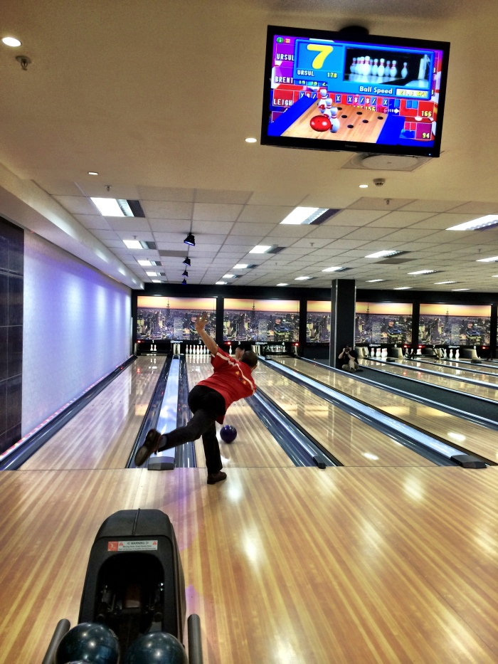My pro doing his thing. Now THAT is how you bowl a perfect strike
